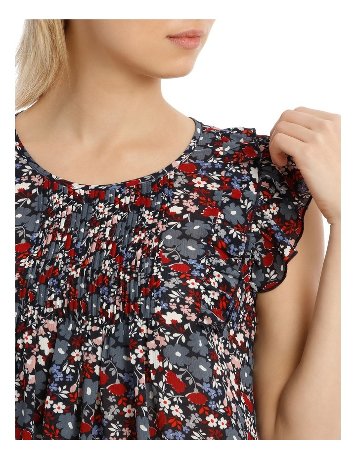 Scattered Floral Pintuck Sleeveless Top image 4