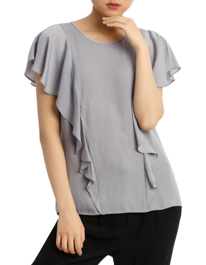 Ruffle Front Bruised Poly Top image 1