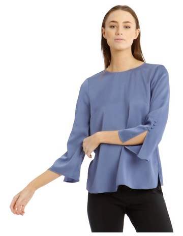 177f6fbfd697 Basque Button Sleeve Detail Blouse