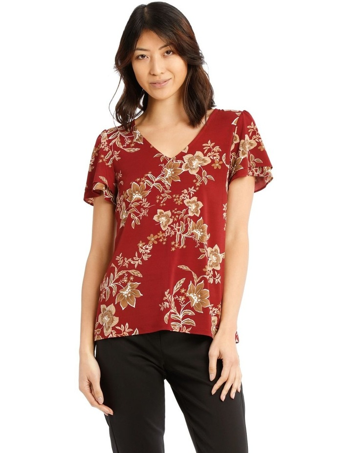 Jersey Double Flutter Sleeve Top image 1