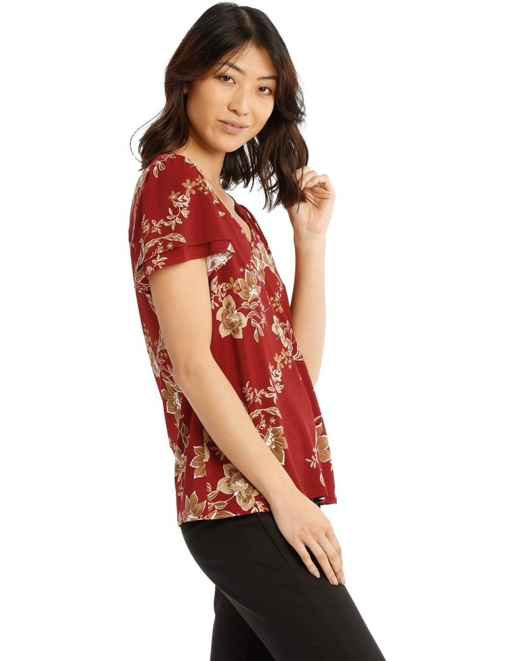 Jersey Double Flutter Sleeve Top image 2