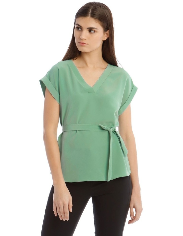 V-Neck Shell Top With Belt image 1