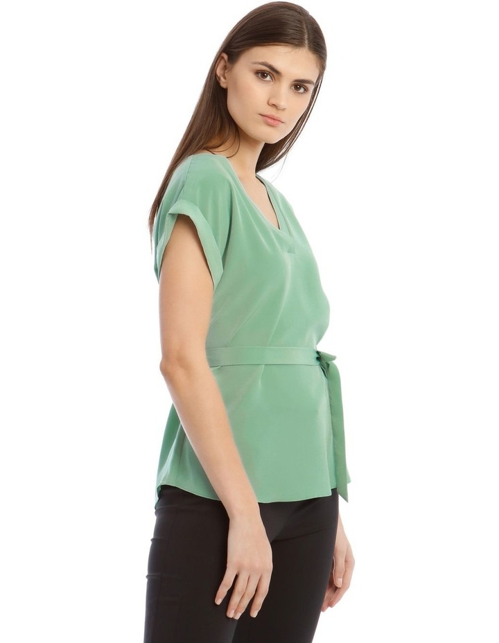 V-Neck Shell Top With Belt image 2
