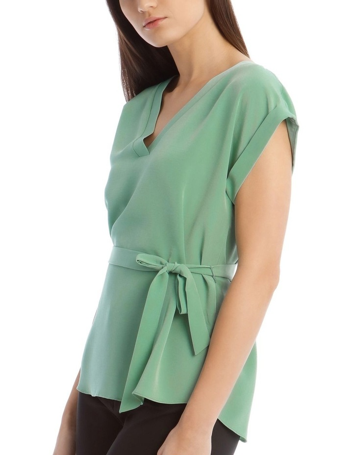 V-Neck Shell Top With Belt image 4
