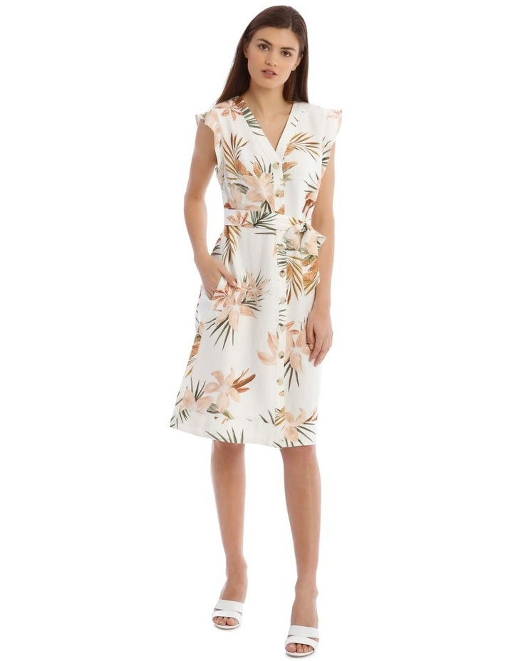 Linen Tropical Button Through Dress image 1