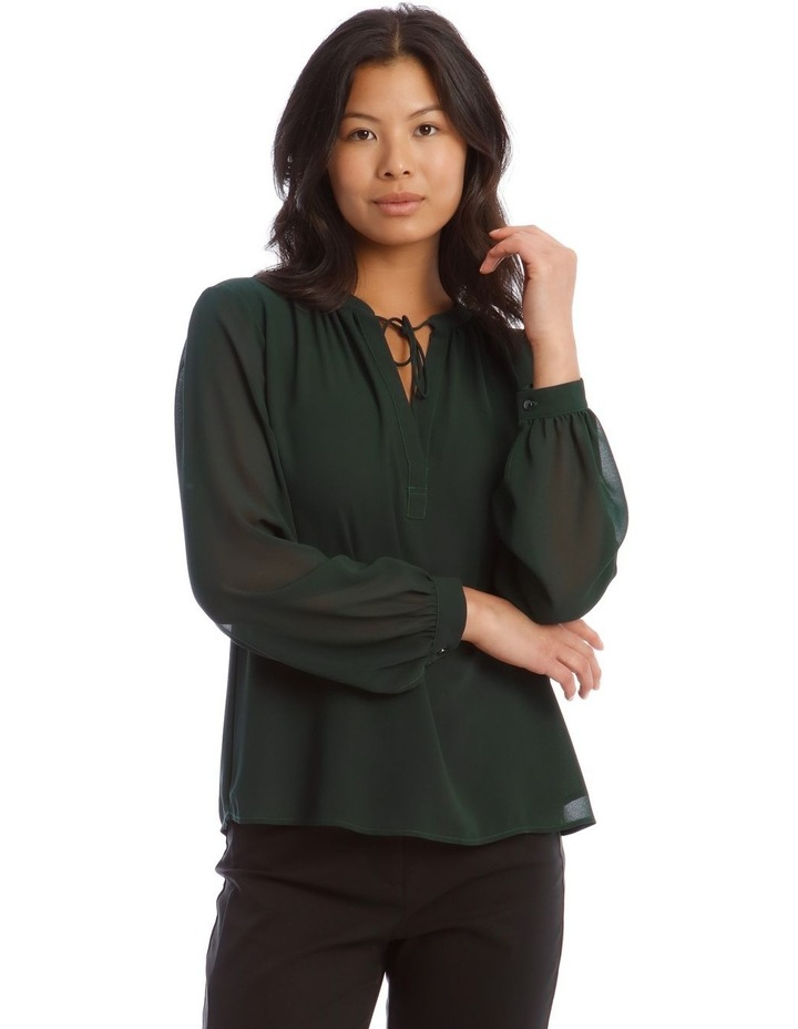 Sheer Sleeve Collarless Blouse image 1