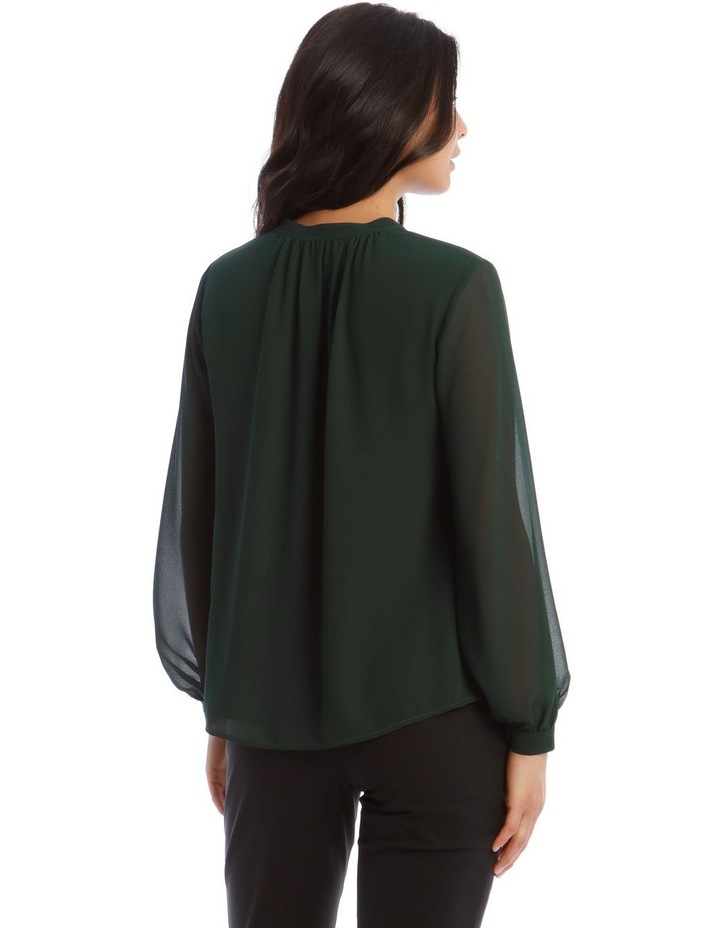 Sheer Sleeve Collarless Blouse image 3