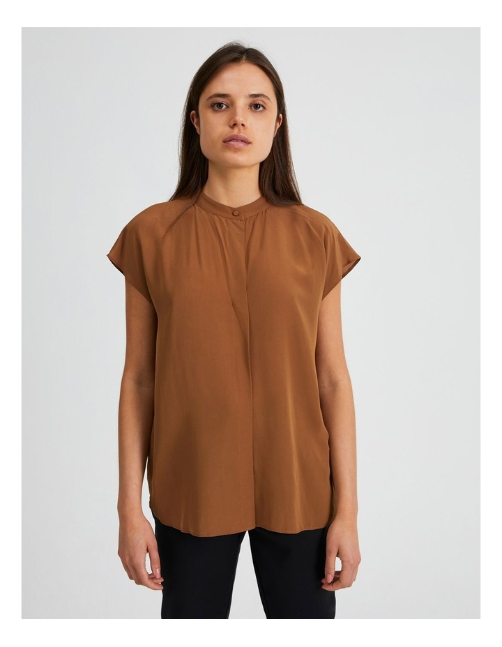 Boxy Grown On Short Sleeve Blouse Rust Brown image 1