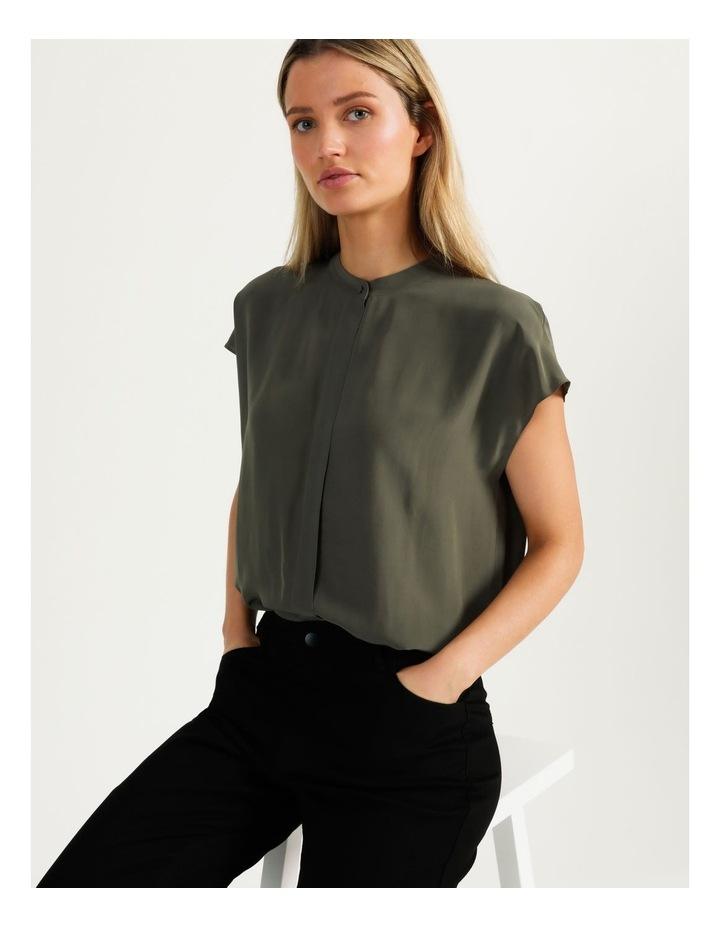 Boxy Grown On Blouse Khaki image 1