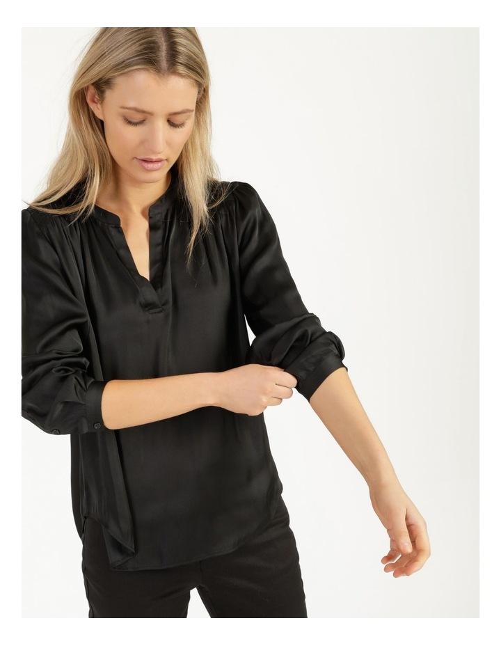 Shirred Shoulder Satin Blouse image 1