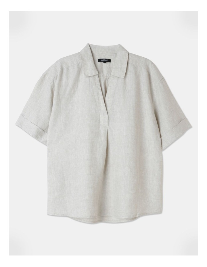 Boxy Oversized Linen Top Natural image 1