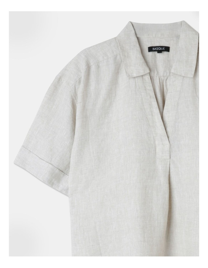 Boxy Oversized Linen Top Natural image 2