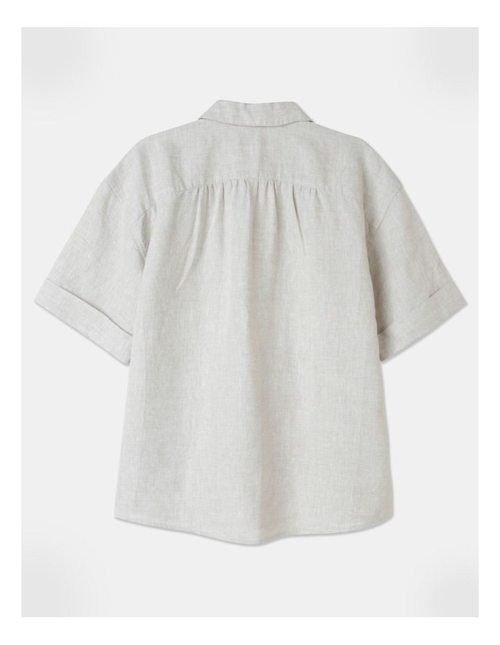 Boxy Oversized Linen Top Natural image 3