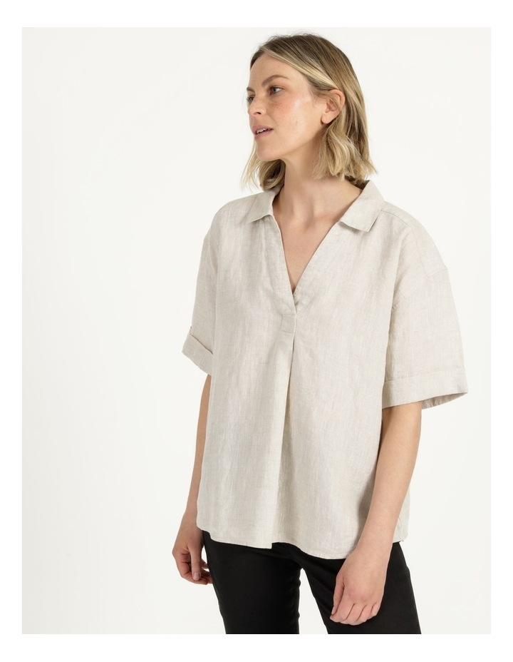 Boxy Oversized Linen Top Natural image 4