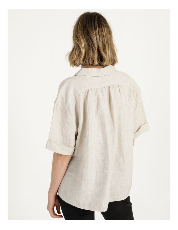 Boxy Oversized Linen Top Natural image 5