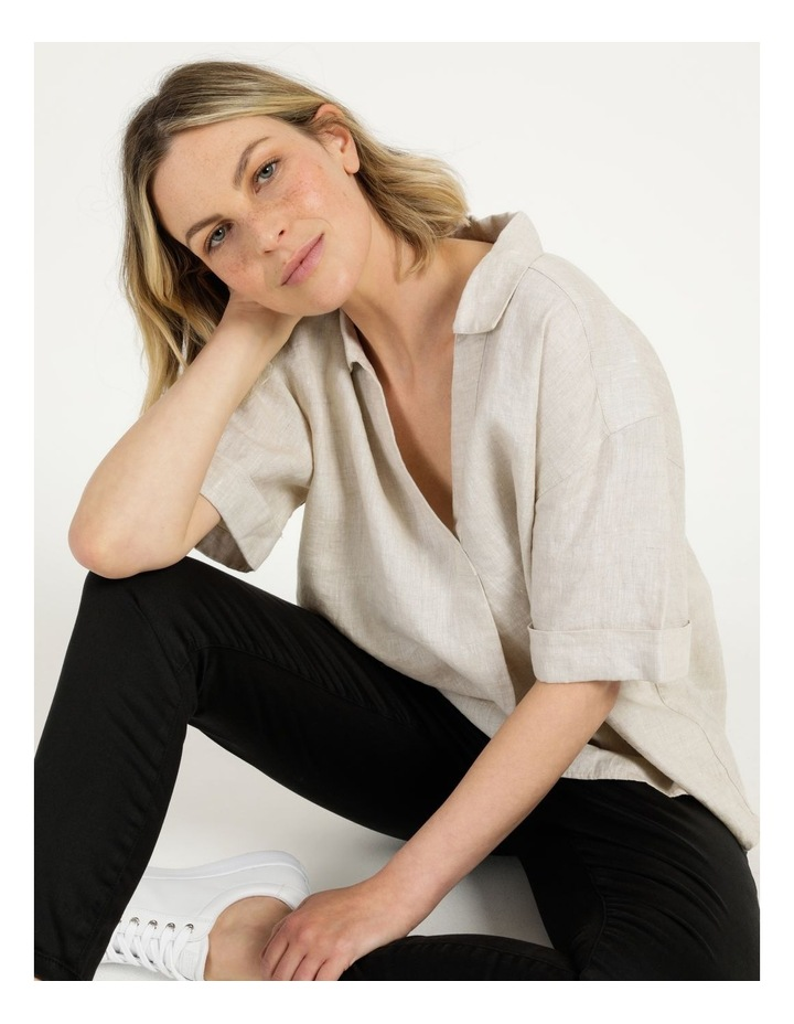 Boxy Oversized Linen Top Natural image 6