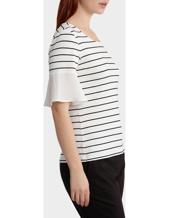 Jersey Tee With Chiffon Sleeve Stripe image 2