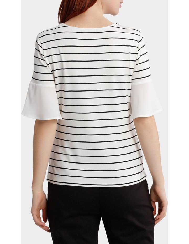 Jersey Tee With Chiffon Sleeve Stripe image 3