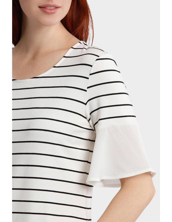 Jersey Tee With Chiffon Sleeve Stripe image 4