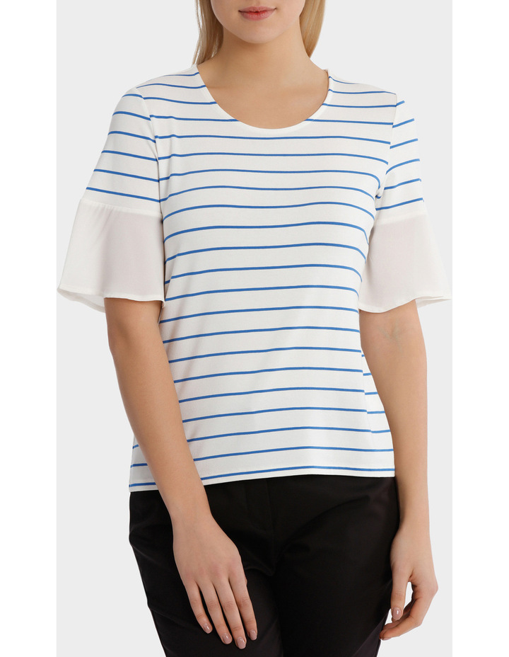 Jersey Tee With Chiffon Sleeve Stripe image 1