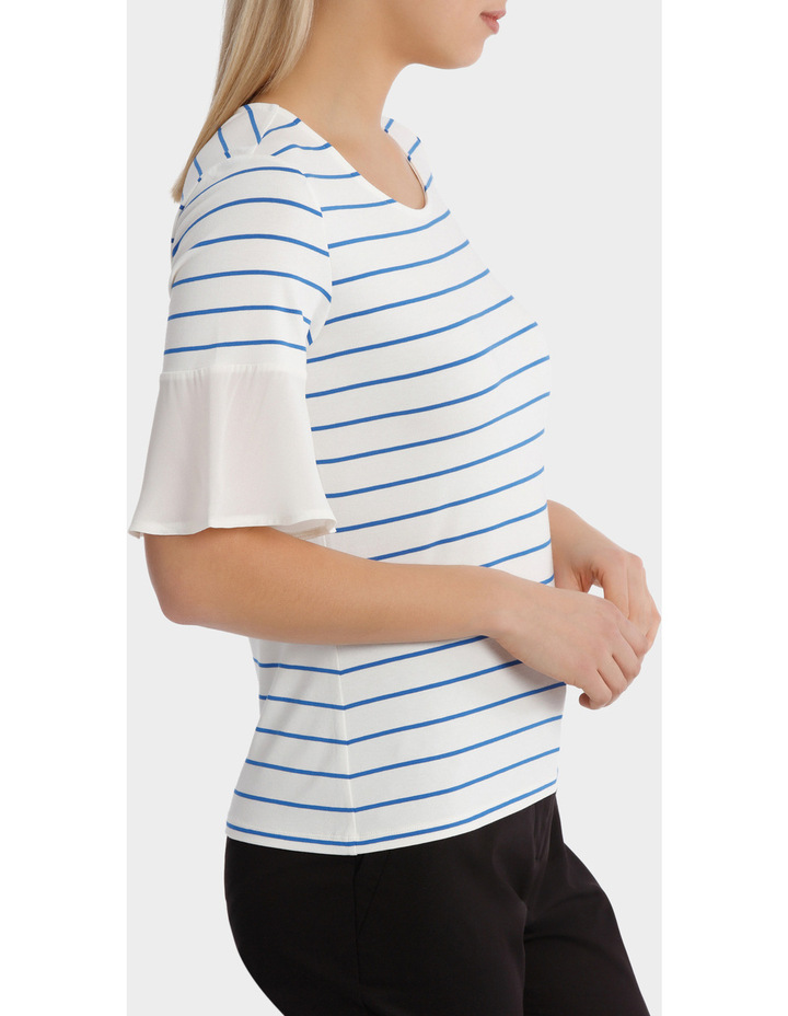 Jersey Tee With Chiffon Sleeve Stripe image 2