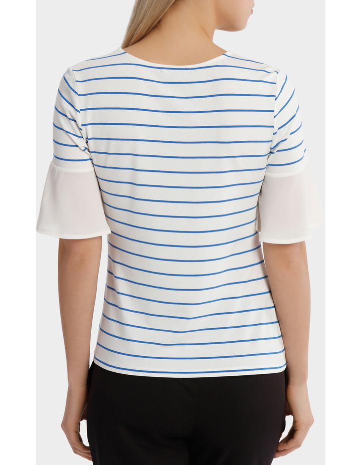Jersey Tee With Chiffon Sleeve Stripe image 3