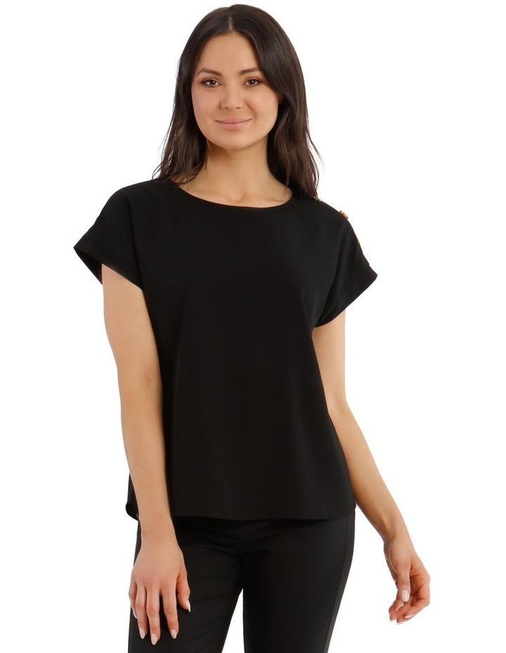 Short-Sleeve Top With Button Detail image 1