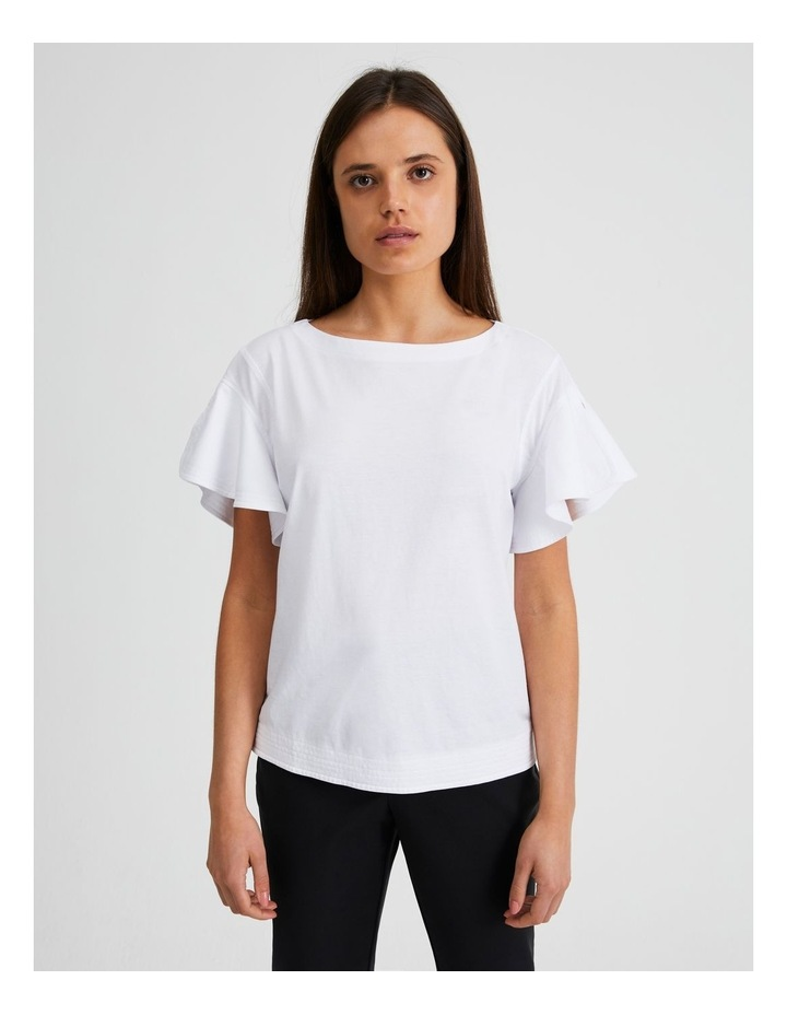Mercerised Cotton Fluted Sleeve Tee image 3