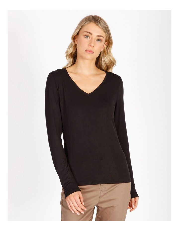 Long Sleeve V-Neck Jersey Top image 1