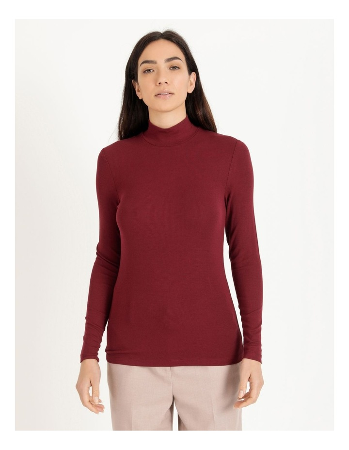 Roll Neck Ribbed Skivvy - Raspberry image 1