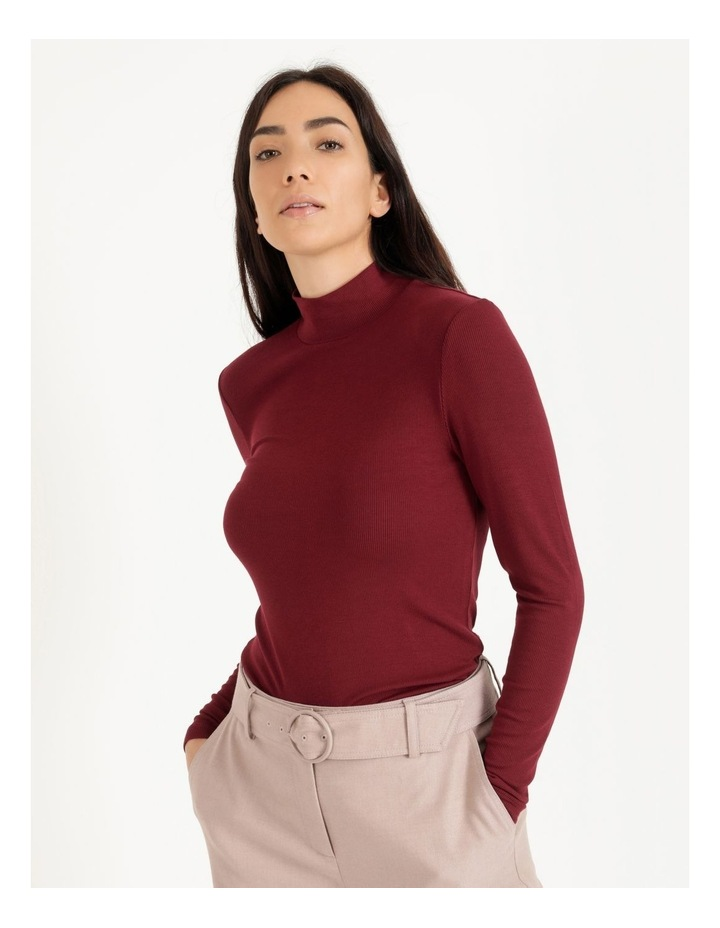 Roll Neck Ribbed Skivvy - Raspberry image 2