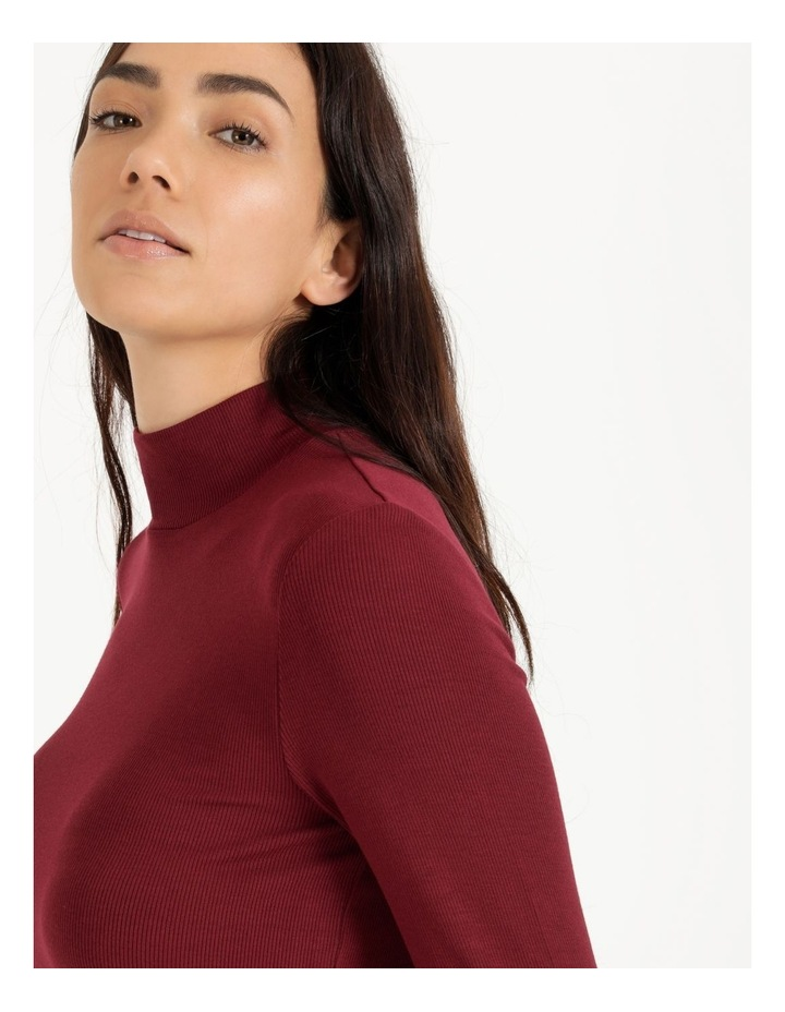 Roll Neck Ribbed Skivvy - Raspberry image 5