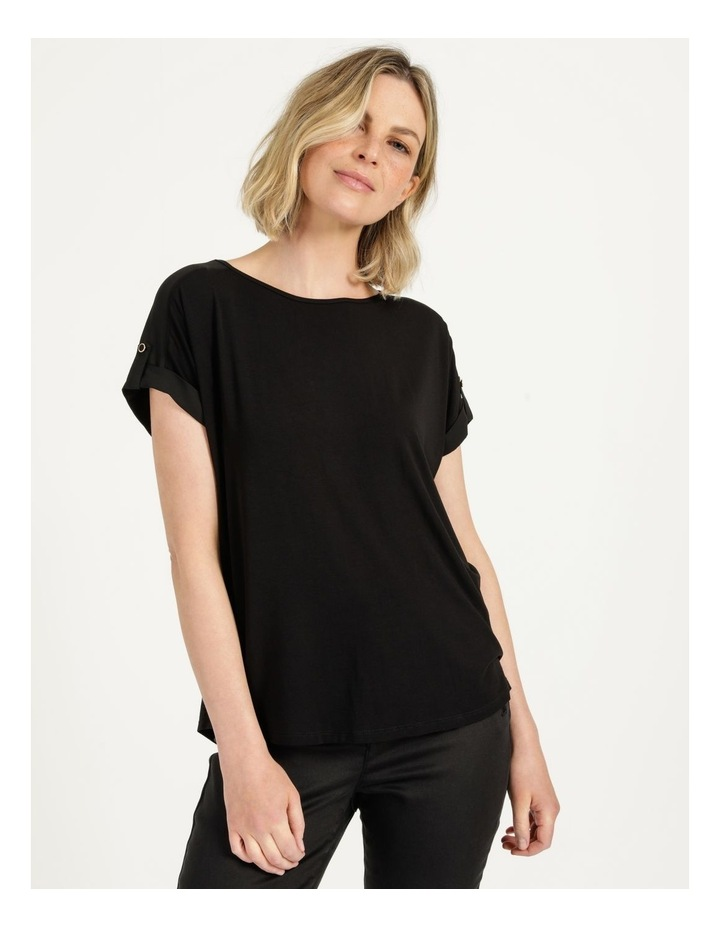 Bamboo Jersey Button Tee Black image 3