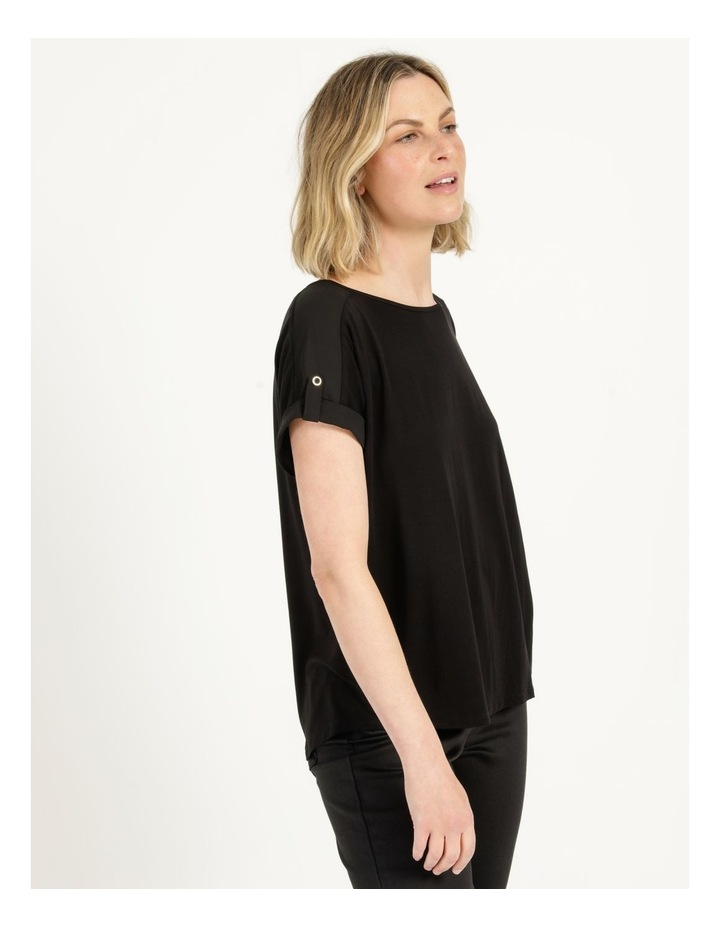 Bamboo Jersey Button Tee Black image 4