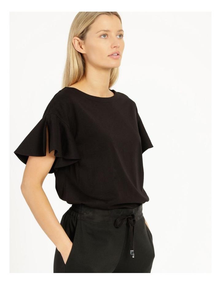 Mercerised Cotton Flutter Sleeve Tee Black image 1