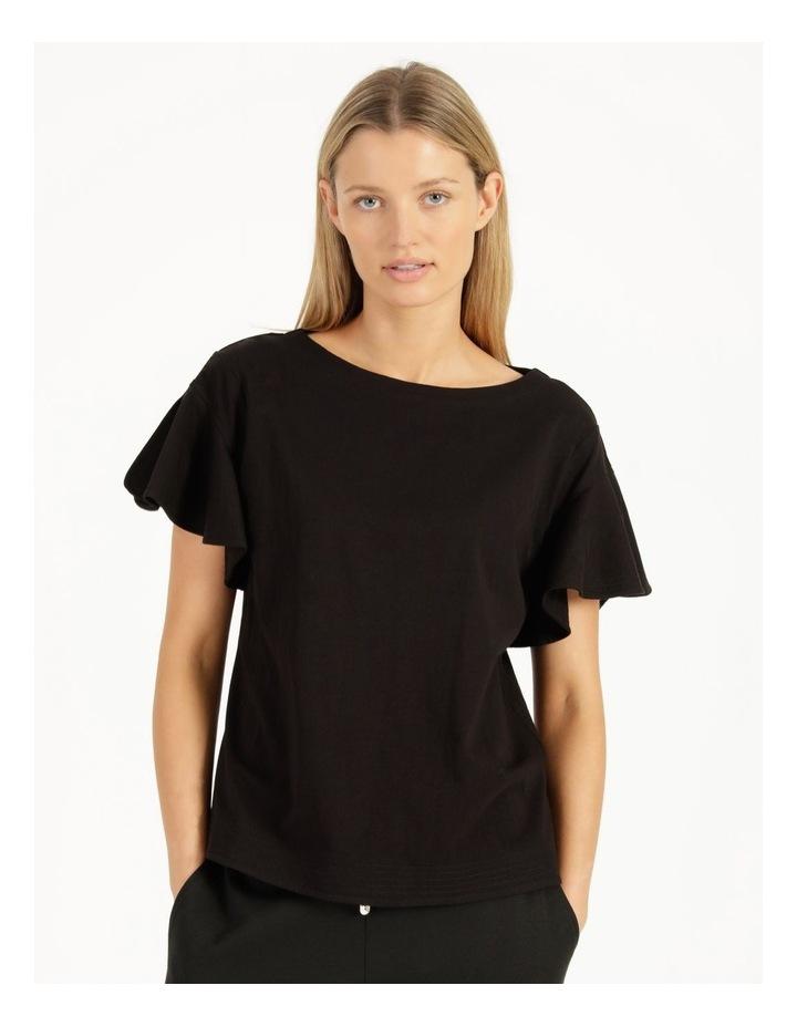 Mercerised Cotton Flutter Sleeve Tee Black image 2