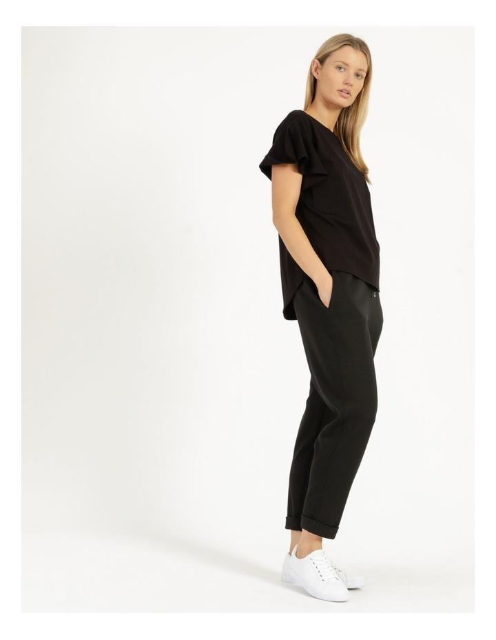 Mercerised Cotton Flutter Sleeve Tee Black image 3