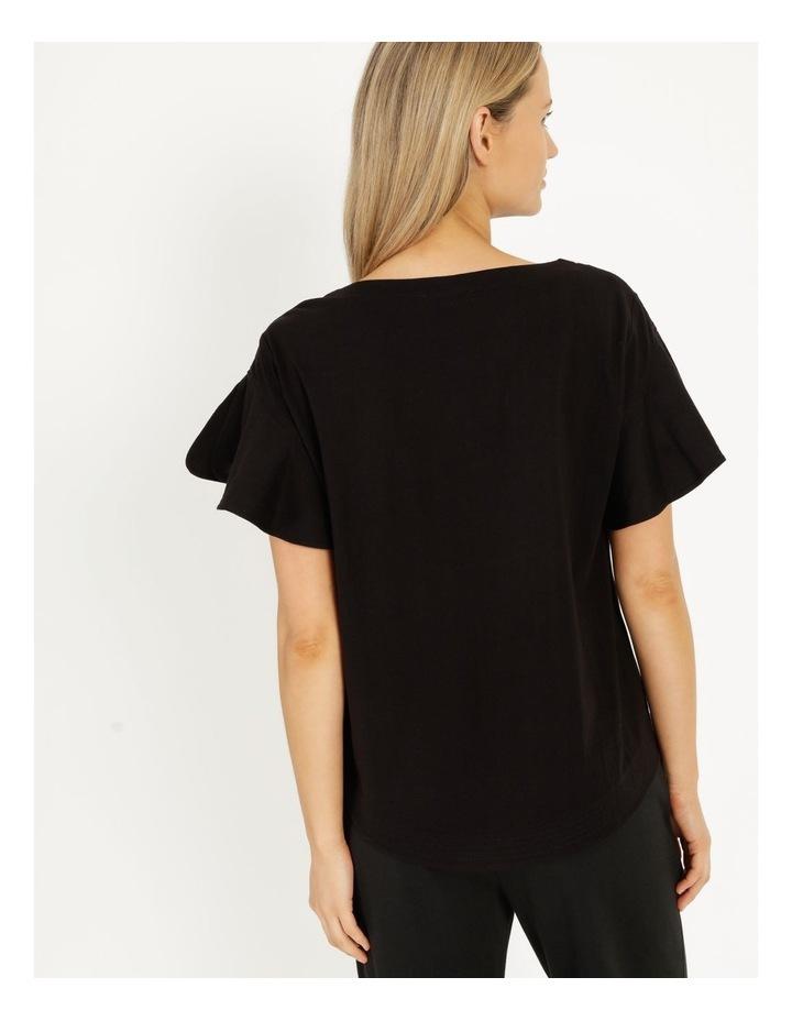Mercerised Cotton Flutter Sleeve Tee Black image 4