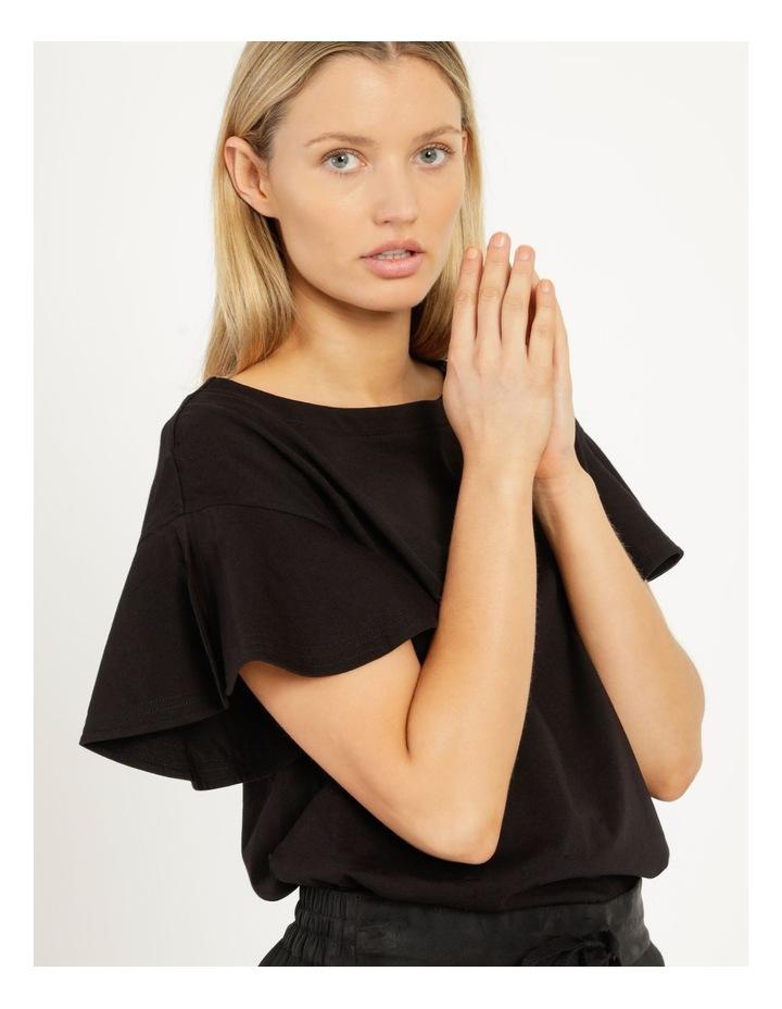 Mercerised Cotton Flutter Sleeve Tee Black image 5