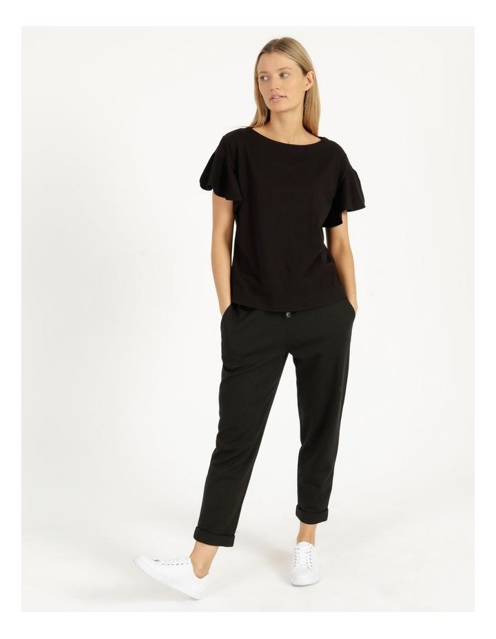 Mercerised Cotton Flutter Sleeve Tee Black image 6