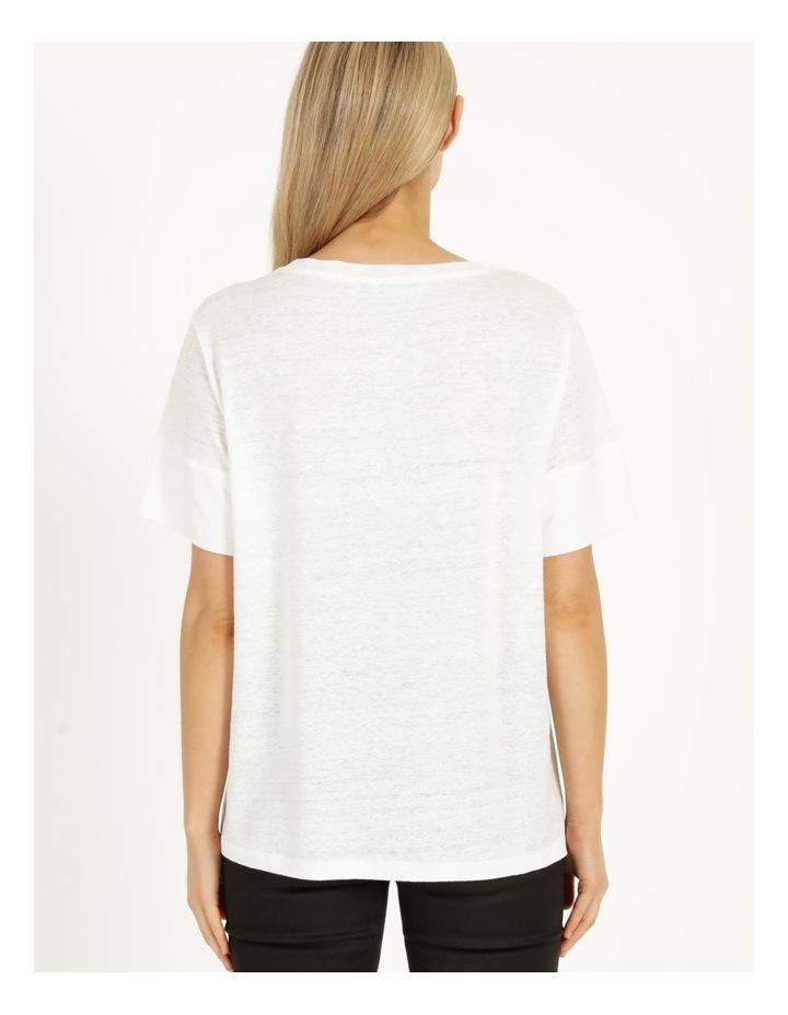 Linen Feature Cuff Tee Ecru image 3