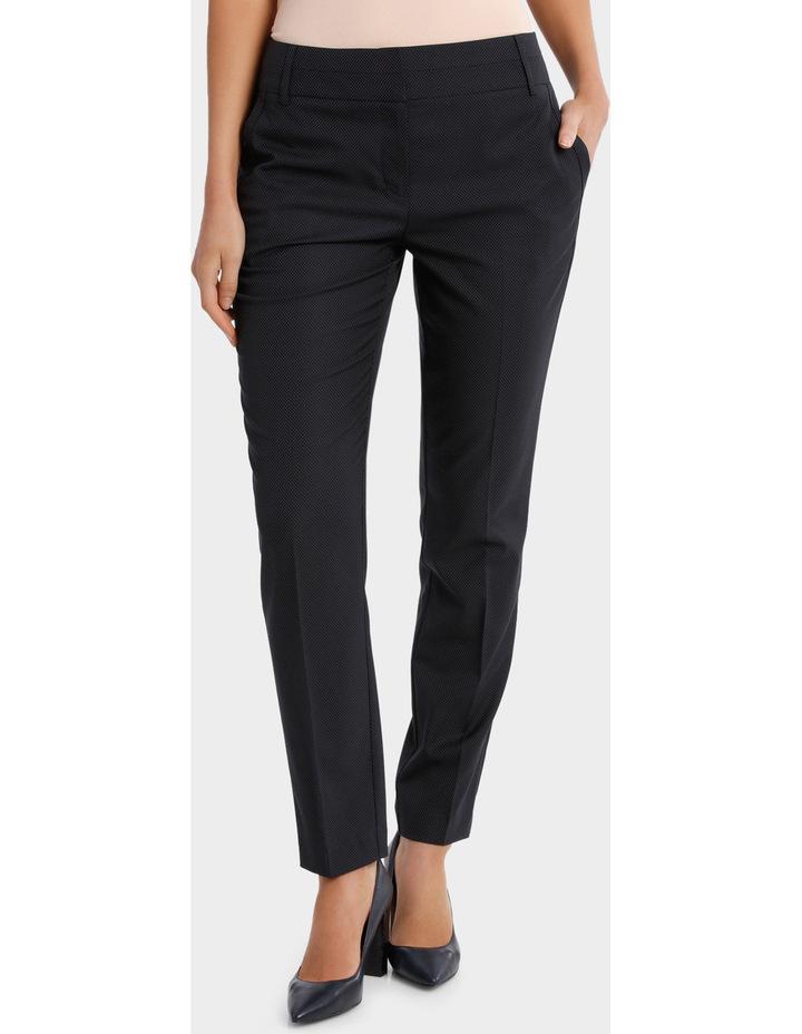 Navy Pin Dot Slim Leg Suit Pant image 1