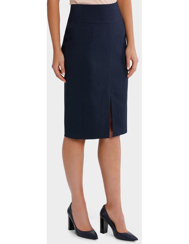 Navy Circle Jacquard Split Front Pencil Suit Skirt image 1