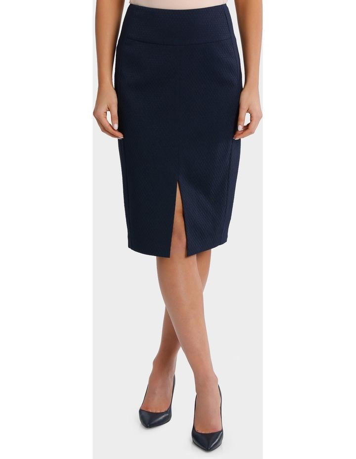 Navy Circle Jacquard Split Front Pencil Suit Skirt image 2