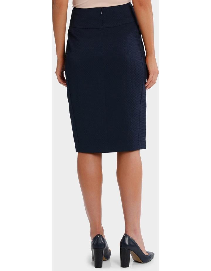 Navy Circle Jacquard Split Front Pencil Suit Skirt image 3