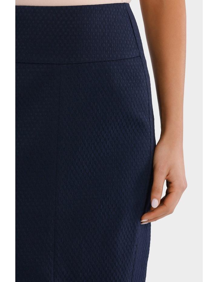 Navy Circle Jacquard Split Front Pencil Suit Skirt image 4