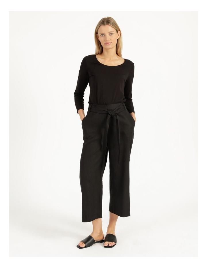 Self Tie Black Linen Wide Leg Pants image 1
