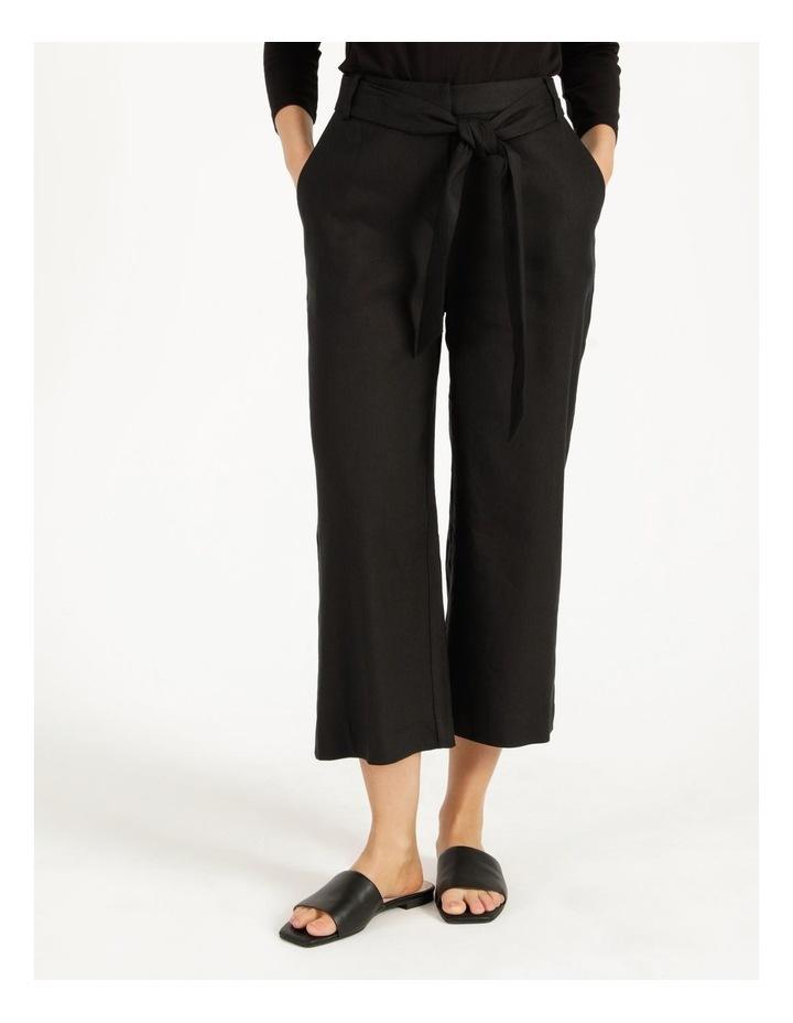 Self Tie Black Linen Wide Leg Pants image 2