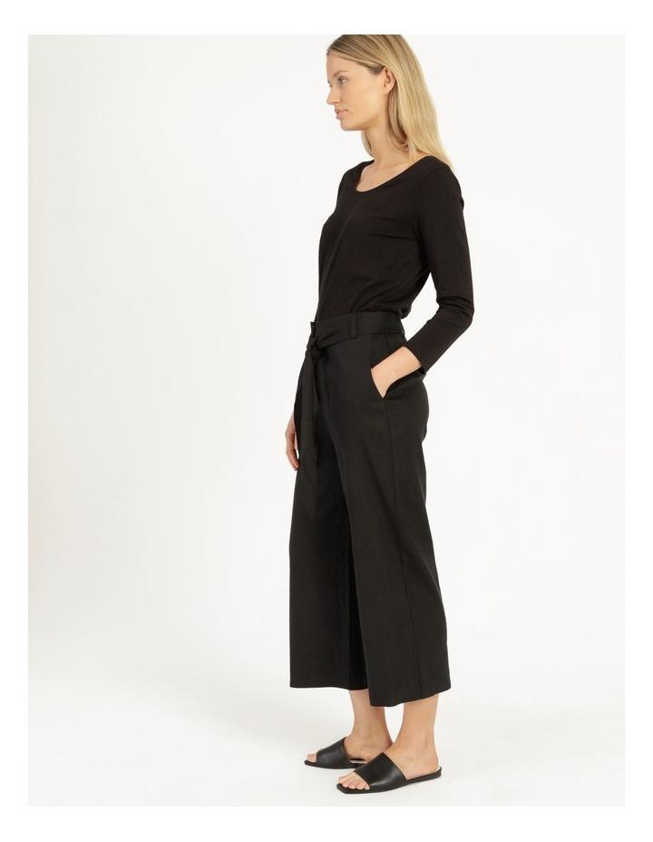 Self Tie Black Linen Wide Leg Pants image 3