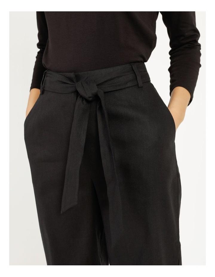 Self Tie Black Linen Wide Leg Pants image 4